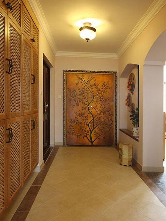 花朵壁纸乡村田园风130平三居室装修效果图