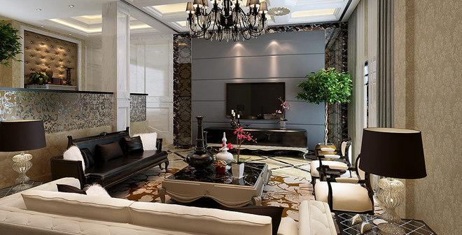 壁炉,卷草纹,线条优美的哑口和白色木格窗等非常有代表性的欧式元素.