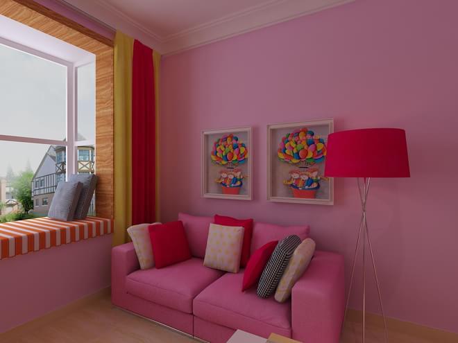 玫红色卧室装修效果图