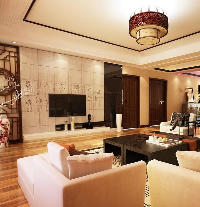 新中式风格木地板效果图