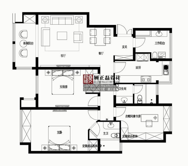 【顾正磊空间设计事务所】130平米弘阳尊邸现代欧式