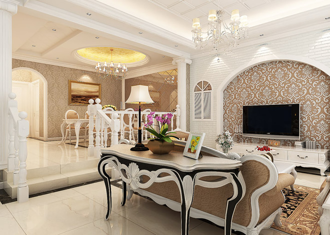 客厅需要体现最强风格欧式加一点软装配饰(窗帘,壁纸)结合.