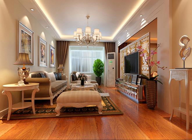 设计理念:客厅里采用了浅色欧式家具和深色花纹玻璃