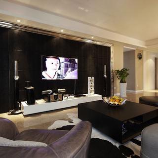 120-150平米简欧风格黑色客厅电视背景墙装修效果图-.
