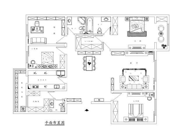新中式风格 三室两厅案例装修效果图