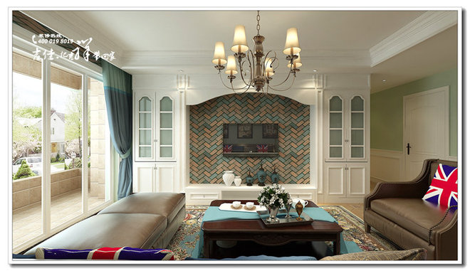 客厅作为待客区域,一般要求简洁明快,同时装修较其它空间要更明快光鲜,通常使用大量的石材和木饰面装饰;美国人喜欢有历史感的东西,这不仅反映在软装摆件上对仿古艺术品的喜爱,同时也反映在装修上对各种仿古墙地砖、石材的偏爱和对各种仿旧工艺的追求上。总体而言,美式田园风格的客厅是宽敞而富有历史气息的。