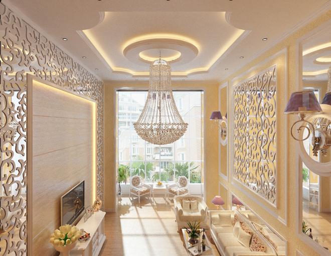客厅顶面由于比一般的户型要高,顶面用了欧式里面惯有的欧  式石膏线图片