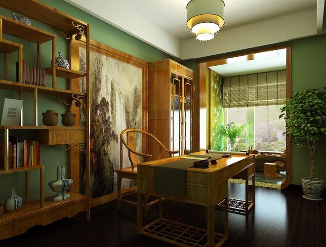 隔断上采用胡桃木质木格屏风提升客餐厅中的中式韵味