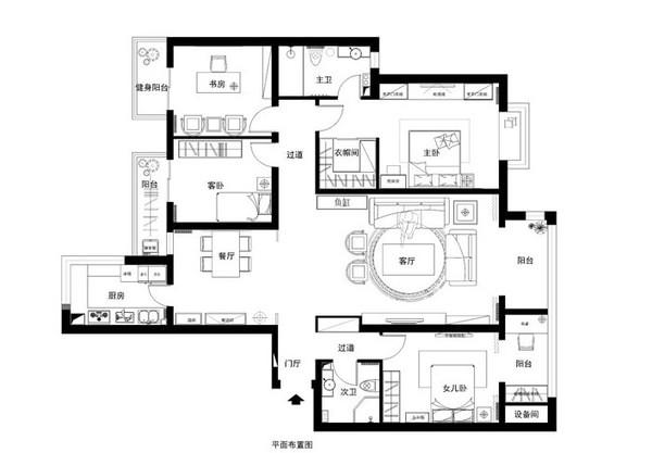 御宸上院189平中式风格四居装修效果图