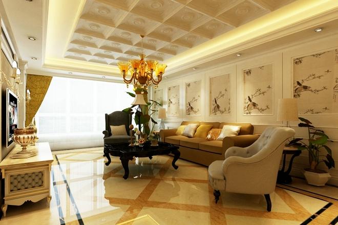 遵行客户的高端大气上档次的想法本案搭配大尺寸的美式家具,整体风格