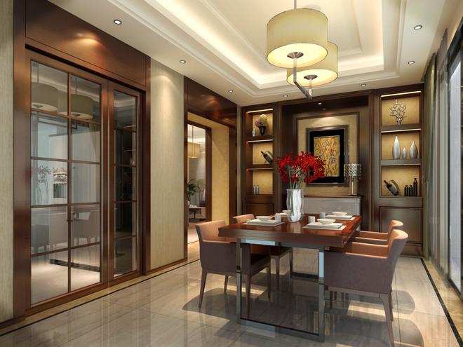客厅与餐厅以柚木饰面及木格花造型体现格调高雅的