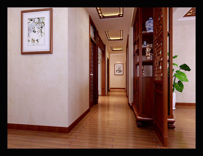 门厅吊顶处理)客厅与餐厅过梁处巧妙用多宝隔和花格垂花装饰,中式古典图片