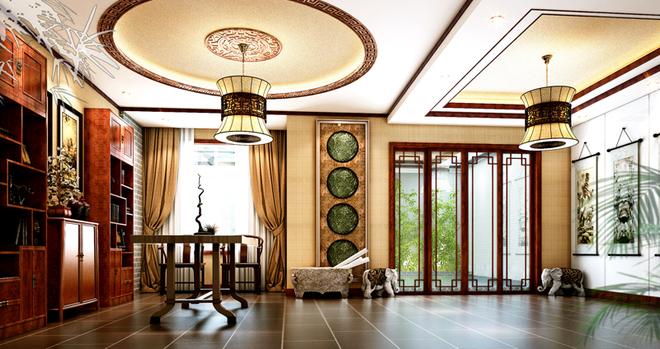 燕西华府别墅360平米中式禅意装修设计案例-业之峰汇巢别墅