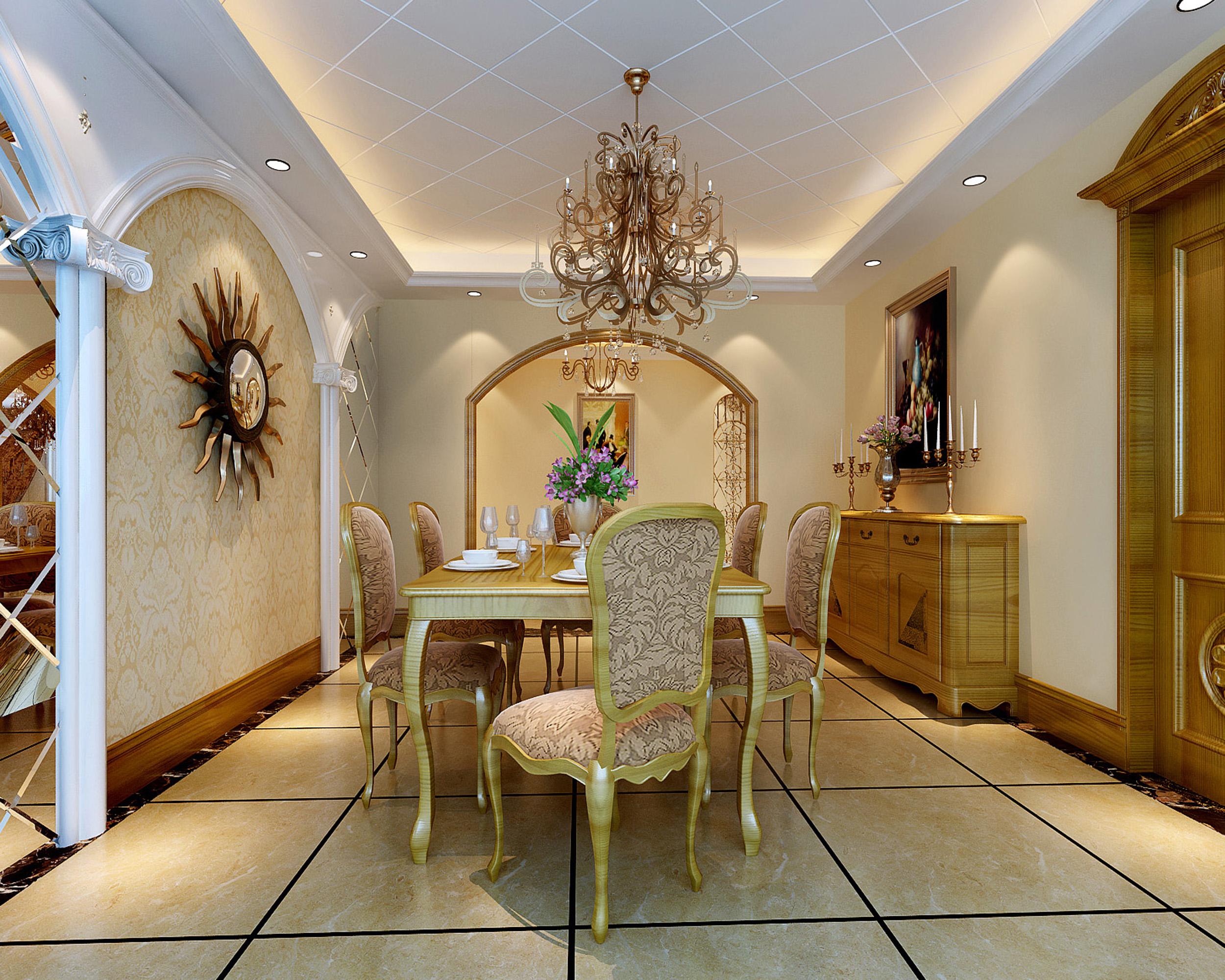 115平时尚温馨欧式风格三居室装修图片