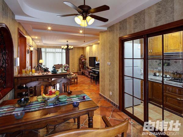 160㎡美式风格公寓设计装修效果图