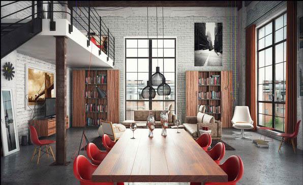优雅与粗犷兼具的混搭LOFT住宅装修效果图
