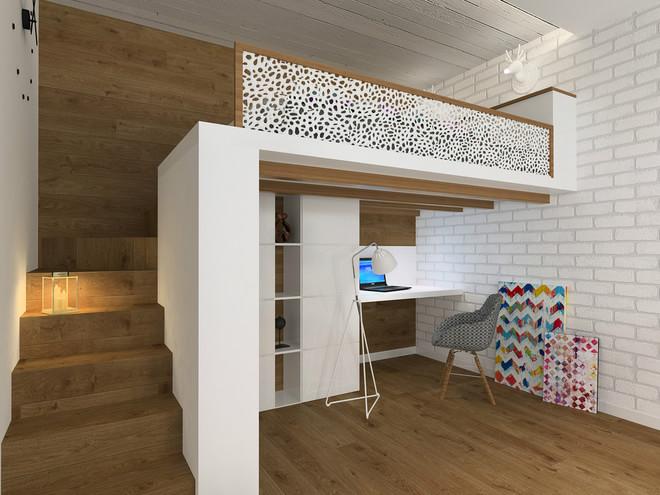 小户型住宅占城市公寓的四分之一。这套公寓主人一对年轻充满活力的夫妇。即便该公寓的面积小,但阻止不了其舒适性和功能性。相反,小户型的装修设计过程更有趣,因为是旧公寓,老建筑的一大优点天花板高。在这样一个公寓里,有必要将客厅和卧室,办公场所,设计在一个房间里,团结所有这些领域,使他们完全独立的。另外还设计一个阁楼床,公寓改造内部建材大多使用天然材料,如砖和木材。公寓内部是一个整体的非常现代的feel,同时,十分舒适和温馨。