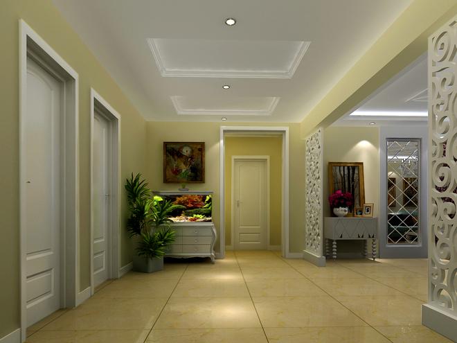 【业主档案】五口之家 【业主要求】要求实用、简欧风格 【设计说明】 本案业主是三代同堂,客户上有公婆,下有一活泼可爱的儿子,和客户沟通,以下为本案的设计说明,玄关的面积较大,为了充分利用空间,把入户门正对面放鱼缸,鱼缸让人感受到空间的活力。把客厅和门厅之间设计了镂空图案隔断,不仅隔开两个功能区域,还能制造出错落有致的光影,使得光线能随着人与日光的变换而变换,让客厅倍具时尚感。
