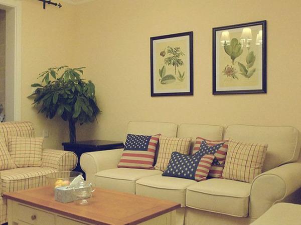 94平清新美式田园混搭两居室装修效果图