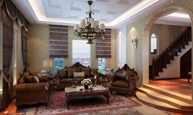 编织着美式古典的庄严,沉稳厚重的美式沙发配以天花彰显大气,多层次的图片