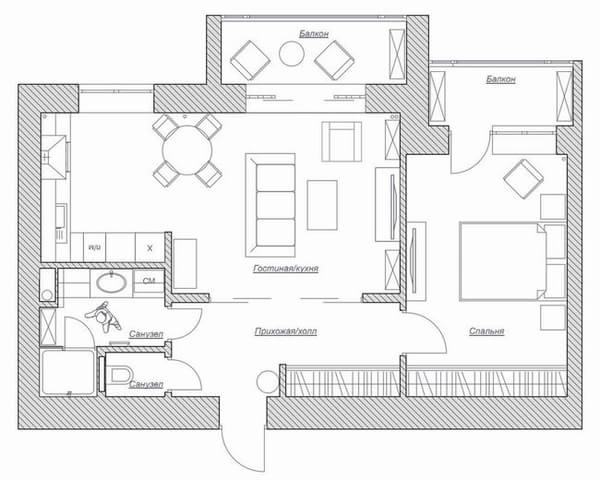 60平米混搭老房翻新装修效果图