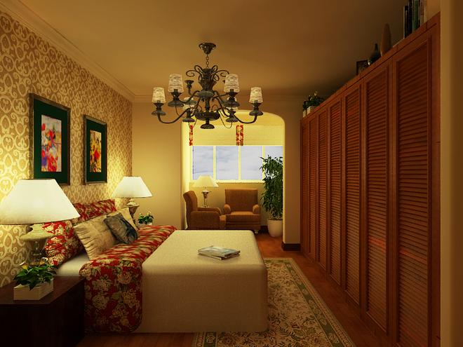 美式田园风格: 电视墙面运用欧式经典元素的壁炉与