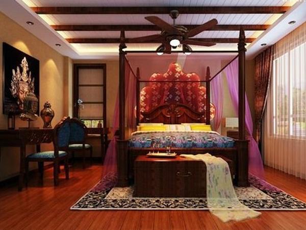 东南亚异国风情深色调两居室装修效果图