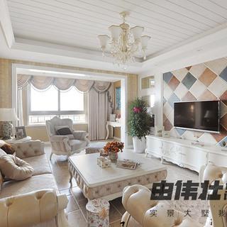 100-120平米美式风格客厅电视背景墙装修效果图大全