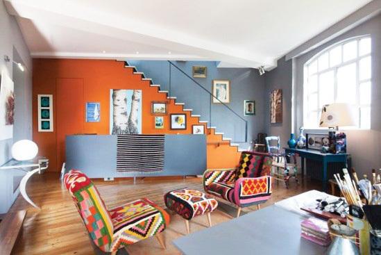 艺术公寓里的疯狂色彩纹理