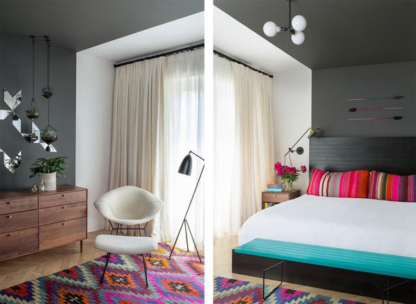 大胆用色混搭风两居室公寓装修效果图