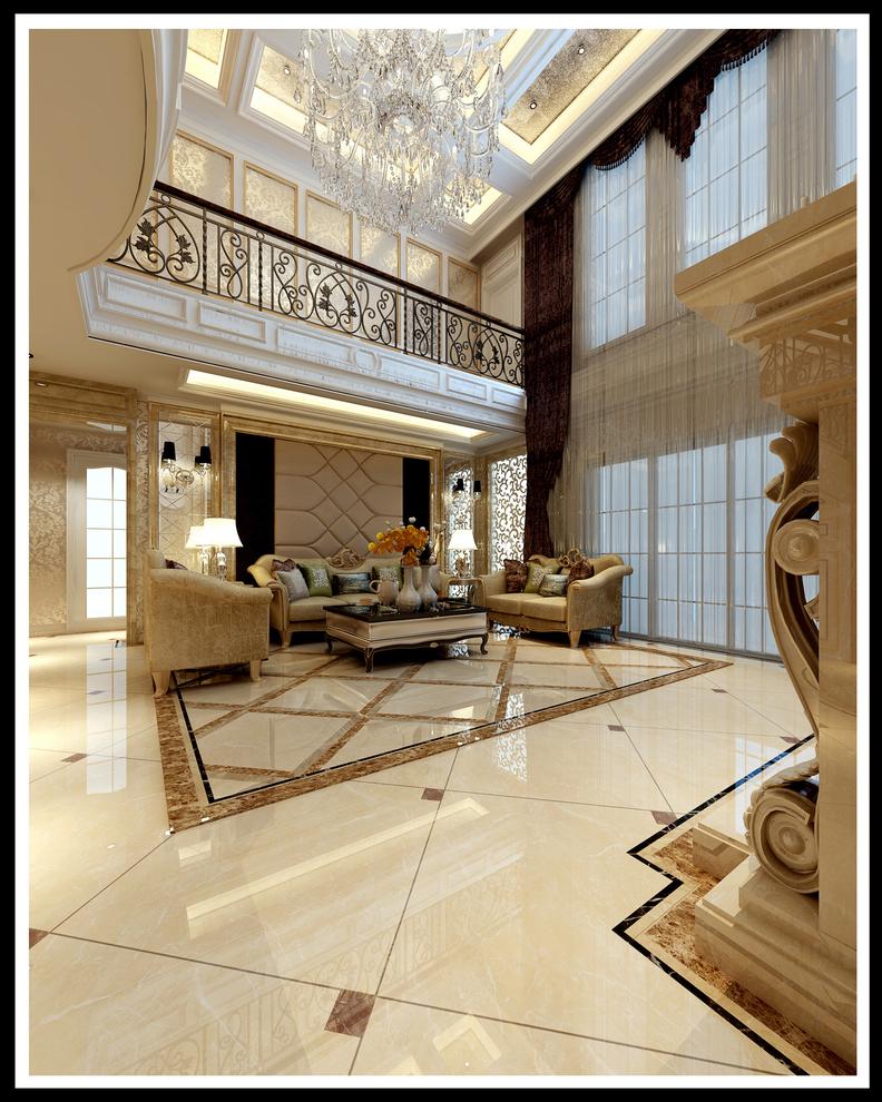 典型的古典欧式风格,以华丽的装饰、浓烈的色彩、精美的造型达到雍容华贵的装饰效果。欧式客厅顶部喜用大型灯池,并用华丽的枝形吊灯营造气氛。室内有真正的壁炉或假的壁炉造型。墙面用高档壁纸,或优质乳胶漆,以烘托豪华效果。地面材料以石材或地板为主。欧式客厅要用家具和软装饰来营造整体效果。