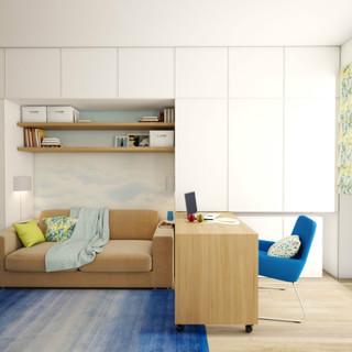 30平小户型绝地大改造 单色调落地窗营造通透生活感