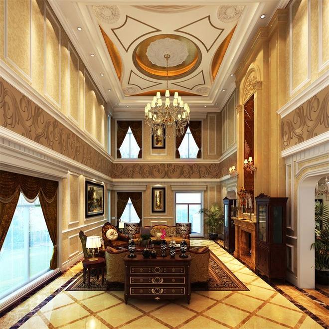 别墅拱形客厅窗帘效果图