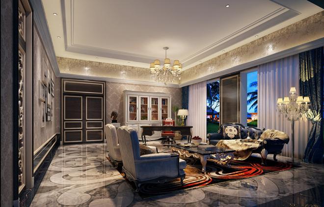 新古典风格别墅设计,最大的特点是在造型上极其讲究,以华丽的装饰、浓烈的色彩、精美的造型达到雍容华贵的装饰效果。负一楼功能区,使用米黄大理石砖,并在不同区域的地面上用花纹大理石给予区隔,而在空间上保留了通透性。柱子用大理石贴面,并运用欧式造形的花纹装饰。如果整个空间每处都运用流光溢彩的装饰,空间会不会太过奢华?