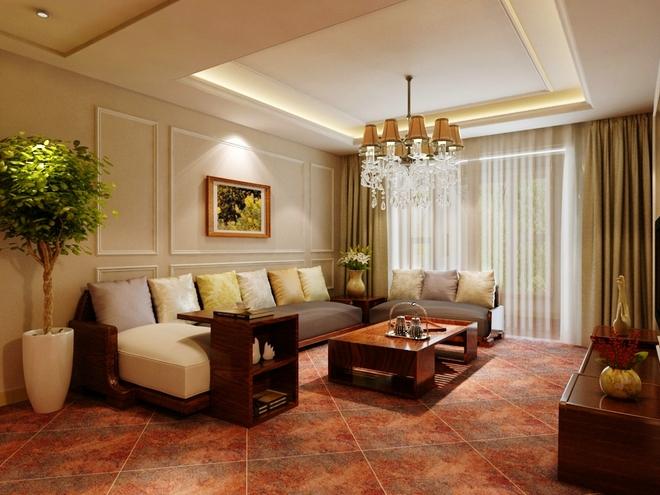 客厅的沙发墙采用石膏线对称的造型,与沙发墙呼应.图片