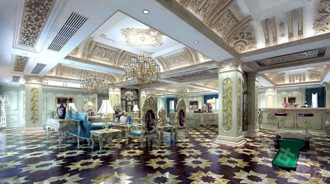 重庆老缅木门会所装修丨高端会所法式风格设计效果图