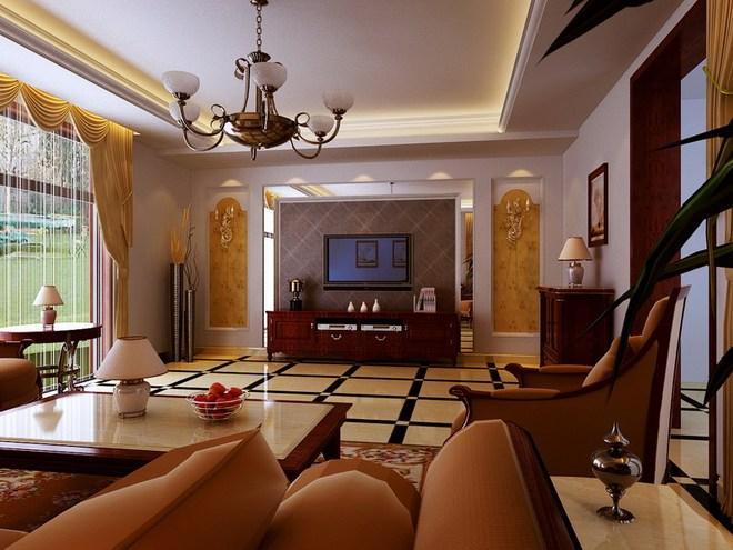 客厅欧式浅色壁纸配深色家具