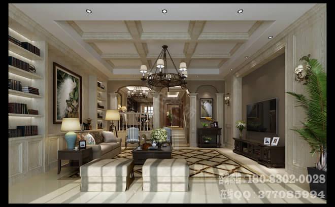 欧式家具,以又大又软的皮沙发,暗红色木质,带一点点简单雕饰的硕大的