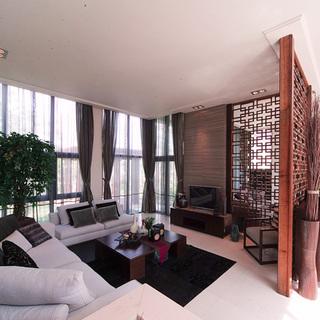 200平米以上别墅新中式风格白色客厅装修效果图大全