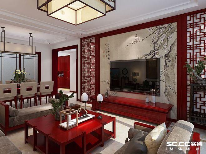 可以看到电视背景墙用中式的花格,搭配上吊顶,很有中式的韵味.图片
