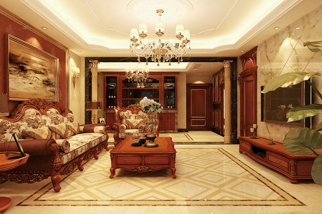 此套为石家庄业之峰装饰-祥云国际121平欧式风格装修效果图。案例风格为欧式设计风格。客厅经过精心的布置,别出心裁,大理石肌理拱形电视背景墙,明亮素实的窗帘,精美的地面拼花,与之相呼应的吊顶,再加上造型简洁大方的沙发,视觉上呈现一种典雅和大气并存的轻松空间。预约设计师电话:18032809320 QQ:859452928