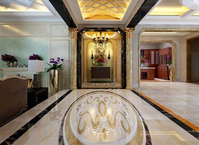 亮点:进入客厅严谨的九宫格天花板提振了整个大厅空间的古典庄重气氛