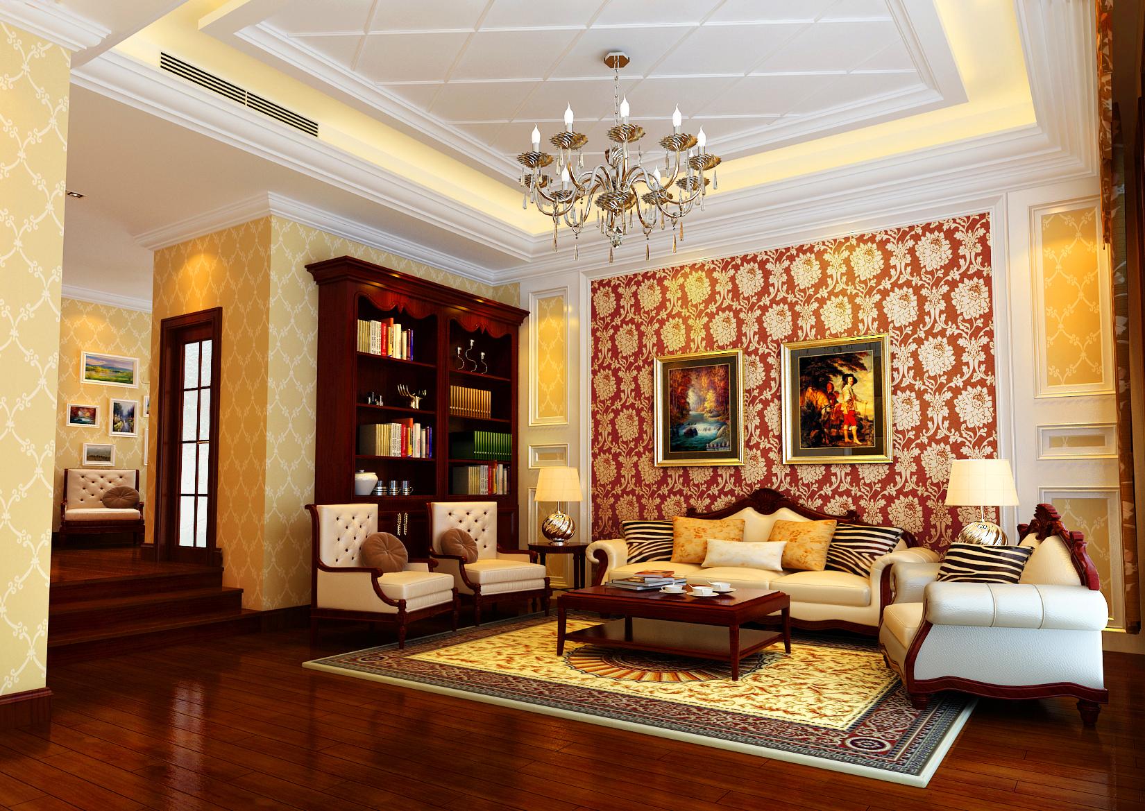 亮点:轻装修重装饰的理念,更完美的突出了业主的品味。偏古典的地板颜色很好的衬托了欧式风格,油画的感觉更添增了几分欧式的韵味,天棚的造型与墙面的造型很完美的结合到了一起。把零散的家具以及配饰很好的围合到了一起。