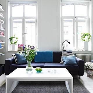 蓝白清新的北欧公寓