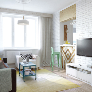 43平米粉色收纳小公寓
