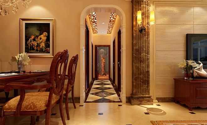 走廊顶面的石膏板配合欧式镂空雕花造型和门厅玄关前后呼应,在顶面图片