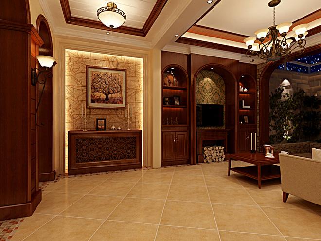 本案在客厅空间,镶嵌实木护墙板的整体墙面搭配经典的欧式艺术墙纸、涂有金色漆的罗马装饰柱,金黄色和棕色的配饰衬托出古典家具的高贵及优雅;赋有古典美感的窗栏及地毯、造型古朴的水晶吊灯等等,让整个空间既赋有韵律感又典雅大方。拾级而上的餐厅,整套的欧式家居和灯具,墙面镶嵌的实木护墙板搭配经典的欧式艺术墙纸,餐厅空间在整体的设计上与客厅相配合,让在此用餐者丝毫感觉不到空间的转移。古典蓝的餐桌椅,宽大精美,成为餐厅实木空间中最靓丽的风景线。