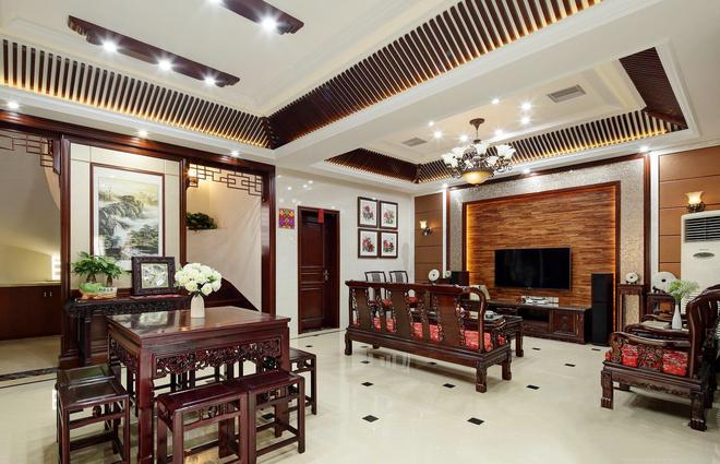 江苏常熟沙家浜独栋别墅400㎡现代中式风格实景展示