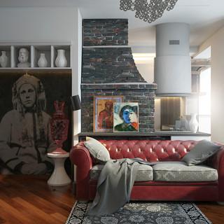 俄罗斯可变形的小空间艺术公寓