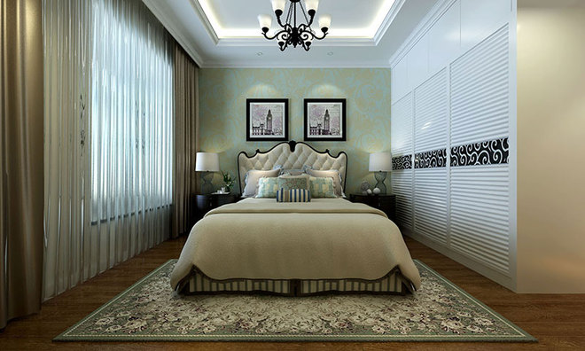 性的装饰柜中间采用木地板上墙更富有美国小资情怀